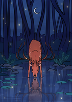 The Stag and the Pond by meowmeowmelody