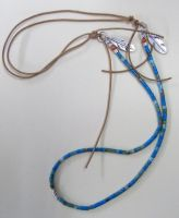 Turquoise heishi and leather necklace by artefaccio