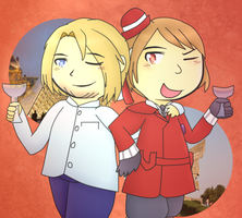 [APH] Romania and France [AT] by poi-rozen