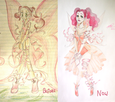 Before and after~! : Pink Fairy by RirooNeal