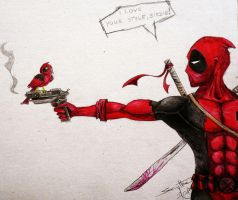 I like your style, Birdie! - Deadpool Fanart by AdamScythe