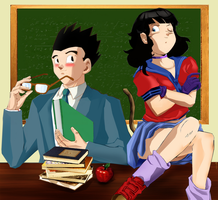 Honda and her english teacher by liaartemisa