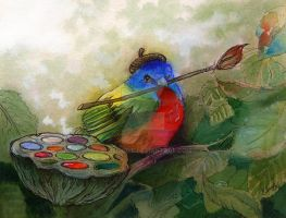 Painted Bunting Bird- by BlueBirdie
