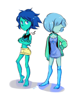 SU : Lapis and Blue Pearl in random clothes by AtomicKitten13