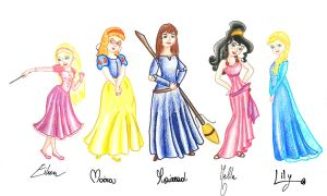 Characters as disney princess by BeatrixBonnie