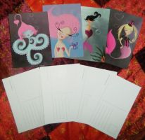 Set of 4 Postcards by messypink