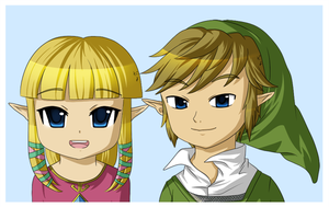 Skyward Sword Link and Zelda doodles by Icy-Snowflakes