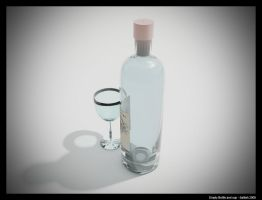 empty bottle and cup by SATTISH