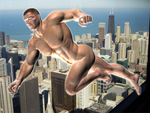 Flying Man over Neon City 2 by Kiel-Basastrony