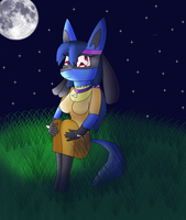 Jasmine the Lucario in the Moonlight by KendraTheShinyEevee