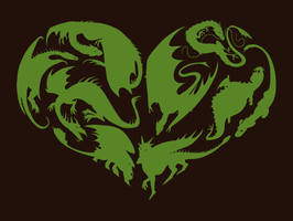 I Heart Dragons - T-shirt Design by sugarpoultry