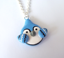 Cute Blue Jay Necklace by MariposaMiniatures