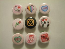 V-day buttons by flameinheaven