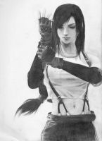Tifa Sketch by SquidAndMilk