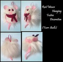 Rat/Mouse Hanging Festive Decoration by WhisperingWoodCrafts
