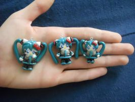 Hatsune Miku Hello Kitty Polymer Clay Charms by ResurrectedVampire69