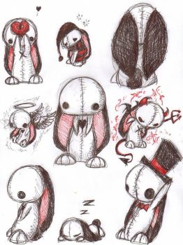 Bunny plushy sketches by brimstone101