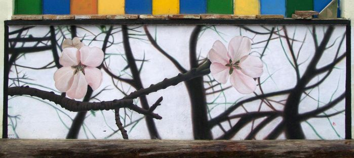 almond blossoms mural by AlMaNeGrA