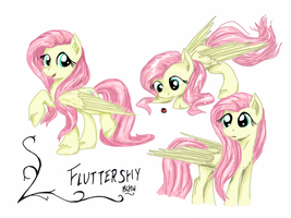 Fluttershy sketches (coloured) by NavigatorAlligator