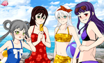 Day at the Beach: My girls~! by villago