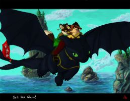 Flying Toothless by Frodo-Lion