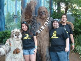 With Chewbacca and Ewok by BennytheBeast