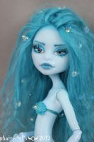 Monster high repaint Abbey blue mermaid portrait by phairee004
