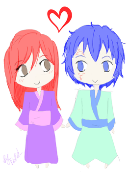Jerard and Erza chibi sketch by Polik95