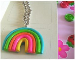 Fimo rainbow necklace by yen-hm