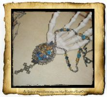 Victorian Day of the Dead Rosary Pendant by grimdeva