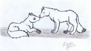 Arctic foxes by TheInfernalDemon