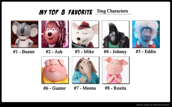 My Top 8 Favourite Sing Characters by TomsterTheSecond