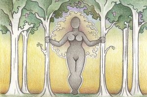 Wild Woman among the Tree HD by Spiralpathdesigns
