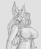 Gasmask Cyera rough sketch by Krinkels-R909