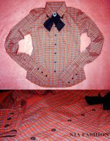 Red Tartan Blouse by kawaii-nia