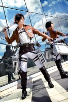 Eren, Mikasa Cosplay: In position by hakucosplay