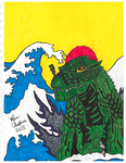 Godzilla 2000 with Japanese waves. (Scanner qual.) by hugeben