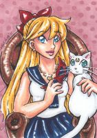 ACEO Minako and Artemis by nickyflamingo