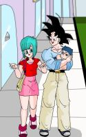 Bulma and goku walking by dbzsisters
