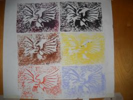 Rooster Woodcut Rubbing, in 6 Colors by InsanePaintStripes