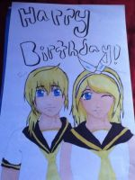 Len and Rin-Happy Birthday DeathRainbows! by Lemonthrower