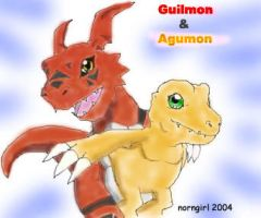 Guilmon and Agumon by norngirl