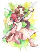 FF7 Aeris Watercolour by FeatherNotes