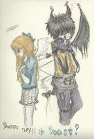 Angel and Demon colored by daydreamerxforxlife