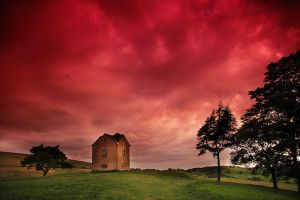 small house in the red sky by PatiMakowska