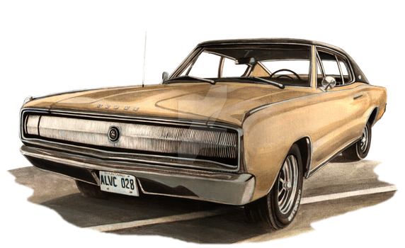 67 Charger - Car Portrait by Artist-Kim-Hunter