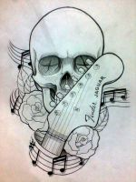 skull , roses and guitar by patoink