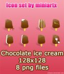 chocolate ice cream icon set by Miniartx