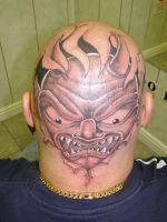 Face Head tattoo by Inkcastle