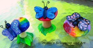 Butterfly on mushroom figures by HollieBollie